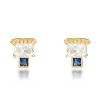 Etta Gold Stud Earrings In Blue