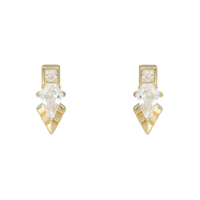 Thea Gold Stud Earrings Earrings V by Laura Vann