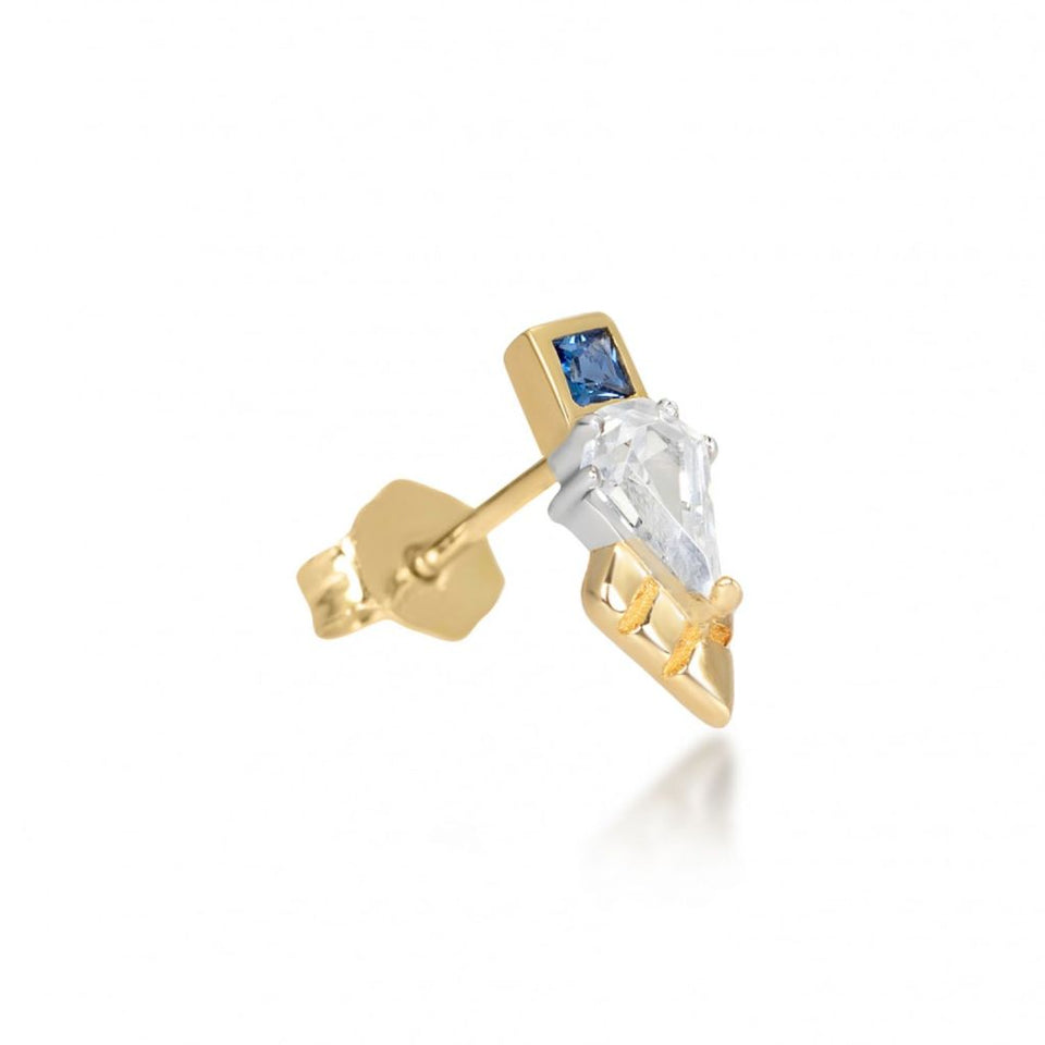 Thea Gold Stud Earring in Blue Earrings V by Laura Vann