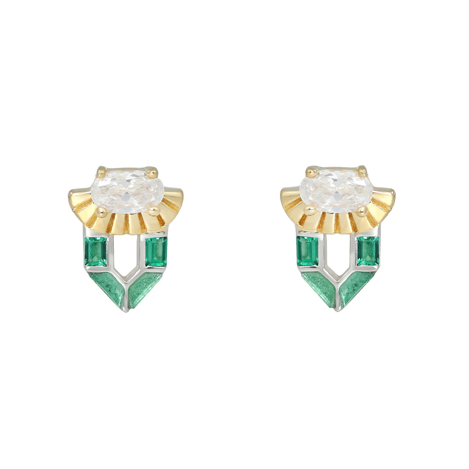 Freya Green Gold Stud Earrings