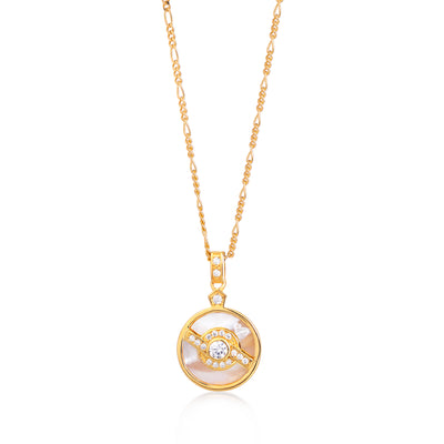 Edie Gold Pearl Necklace on Figaro Chain
