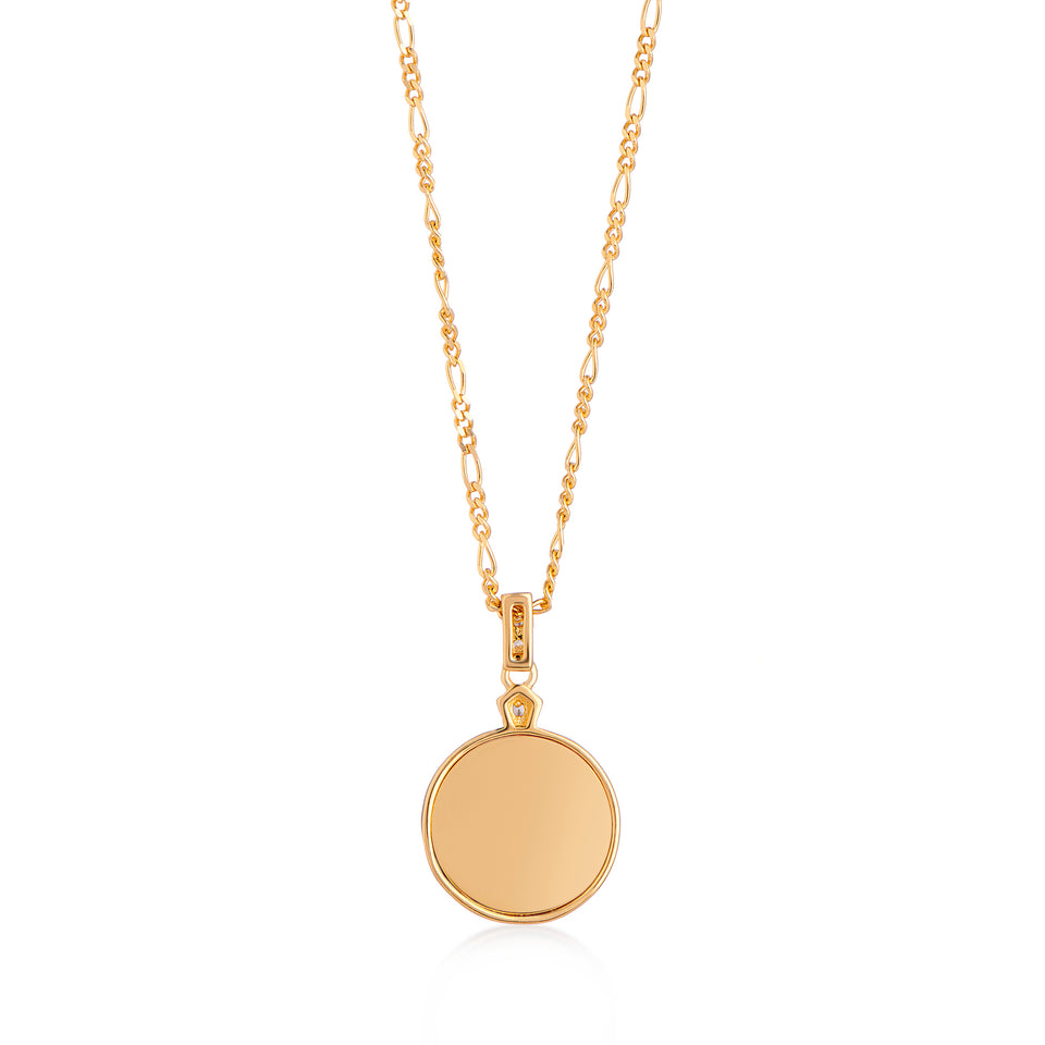 Edie Gold Necklace in Pearl on Figaro Chain