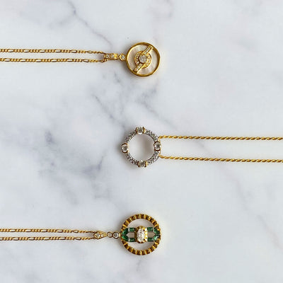 Luna Gold Circle Necklace on Rope Chain