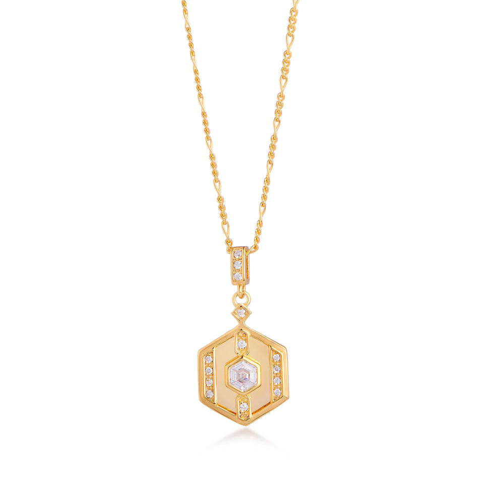 Darcy Gold Necklace on Figaro Chain