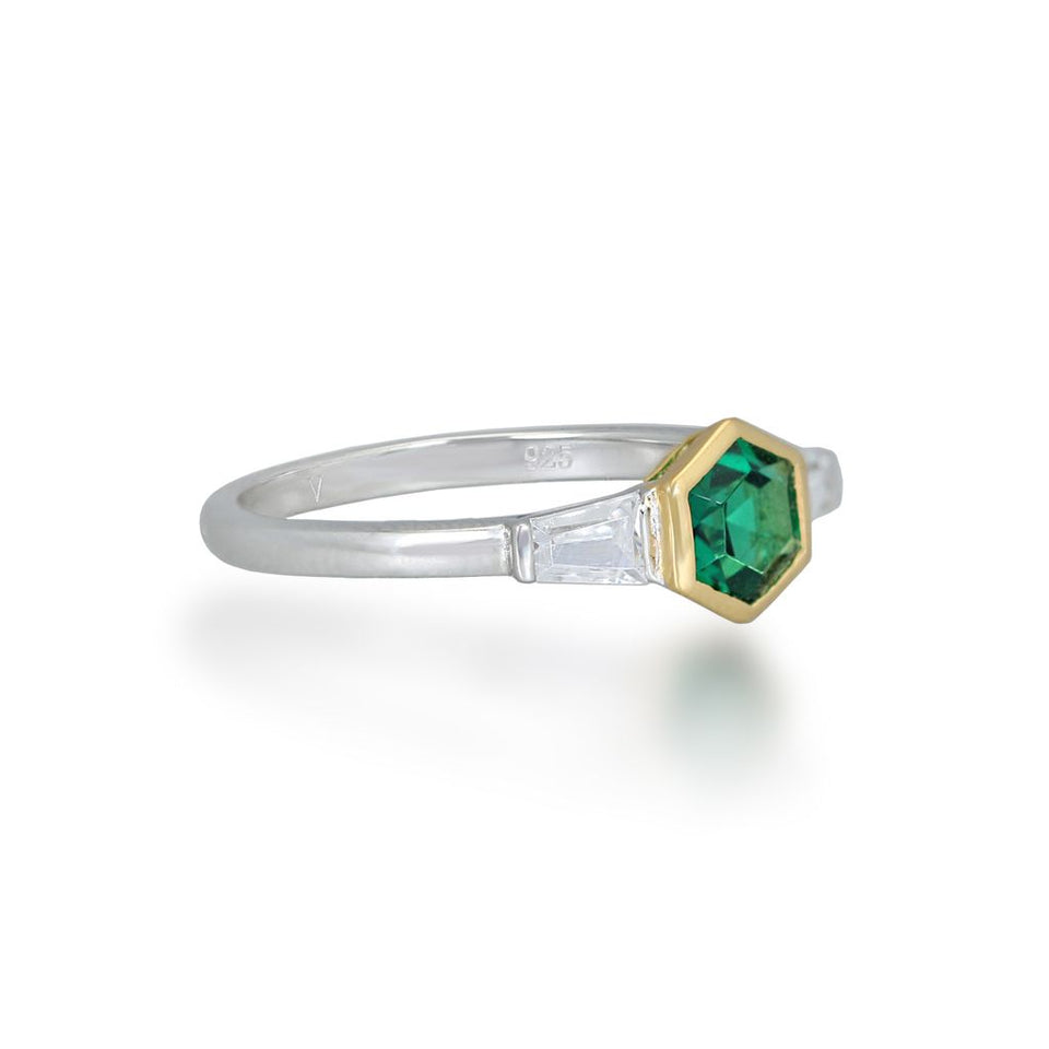Darcy Gold Ring in Green