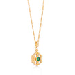 Darcy Gold Necklace in Green on Figaro Chain