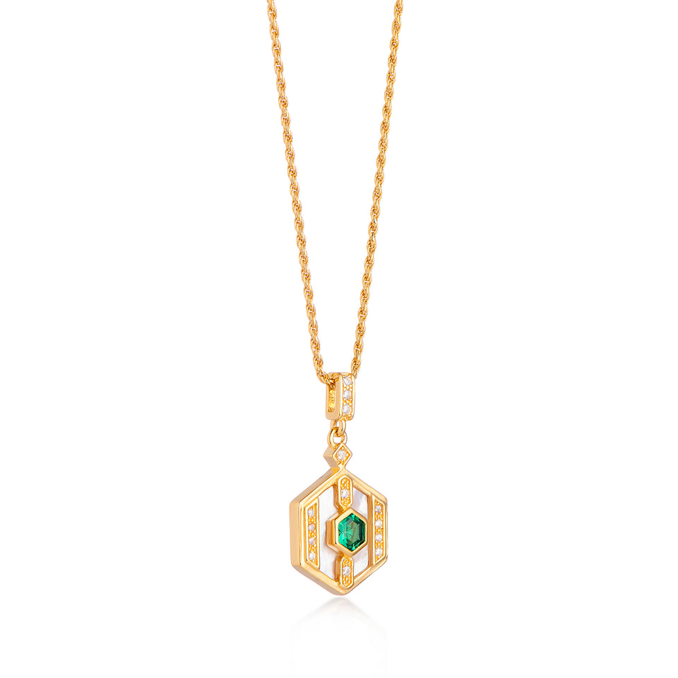 Darcy Gold Necklace in Green on Rope Chain