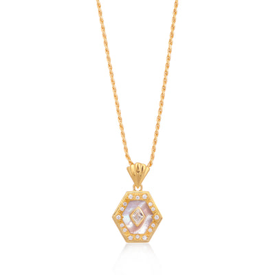 Esme Gold Necklace in Pearl on Rope Chain