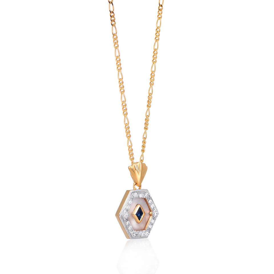 Esme Gold Necklace in Blue & Pearl on Figaro Chain