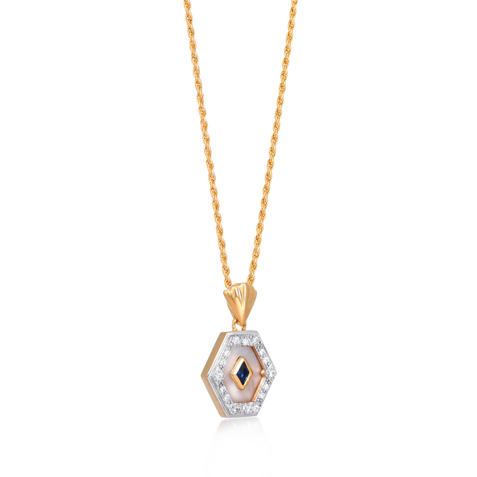Esme Gold Necklace in Blue & Pearl on Rope Chain