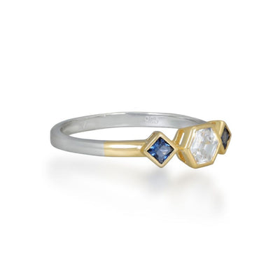 Esme Gold Ring in Blue