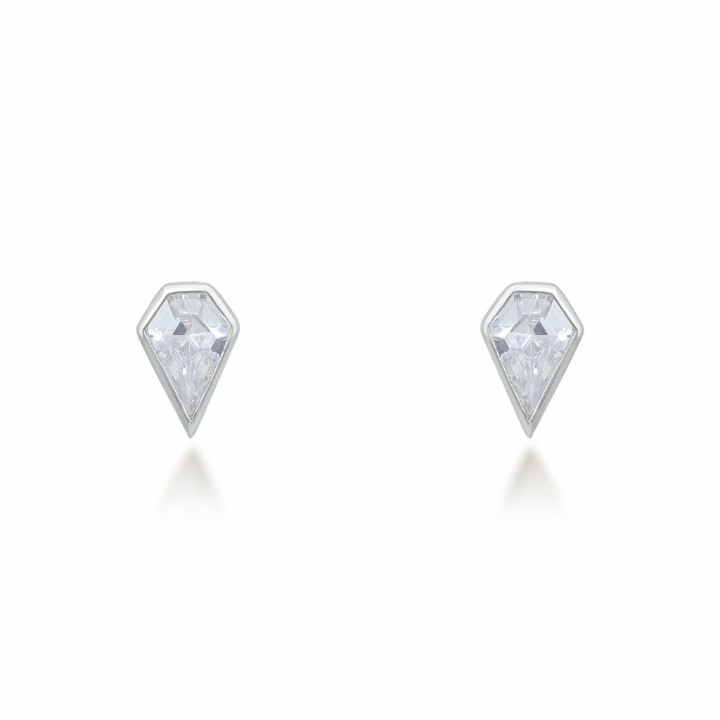 Sadie Silver Stud Earrings Earrings V by Laura Vann