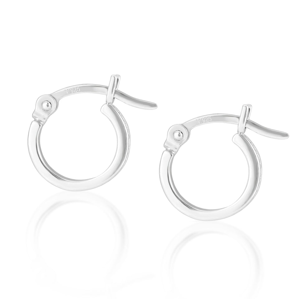 Frances Silver Hoops with Clear Shield Charms