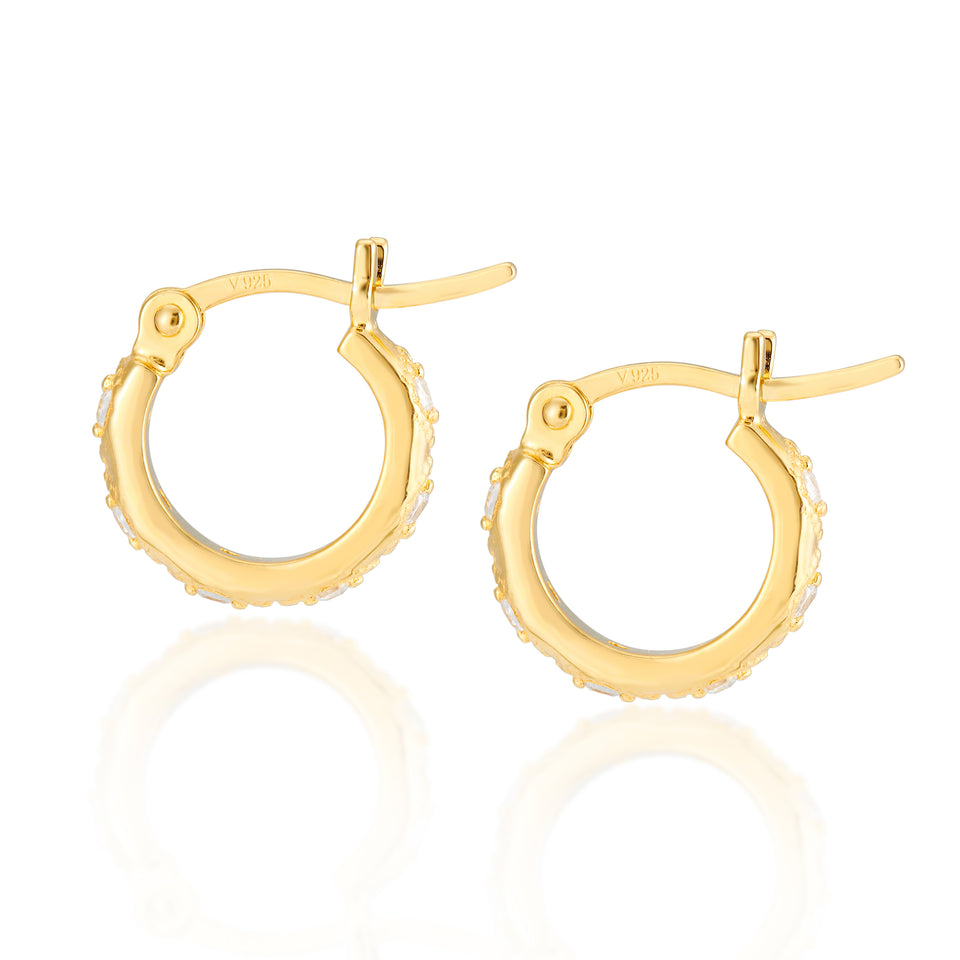 Combo: Lena Gold Hoops + Elongated Hex Charms