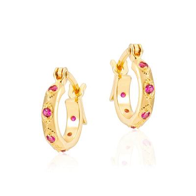 Lena Gold Hoops in Corundum Red