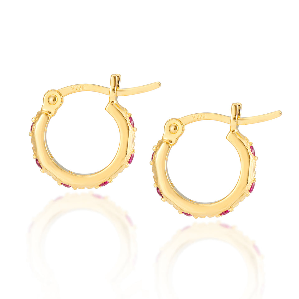 Combo: Lena Hoops + Elongated Hex Charms in Red & Apricot