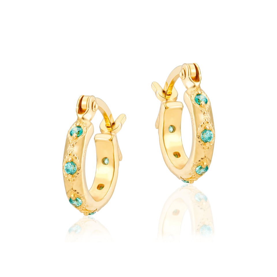 Combo: Lena Gold Hoops + Shield Charms in Yellow, Mint & Emerald Green