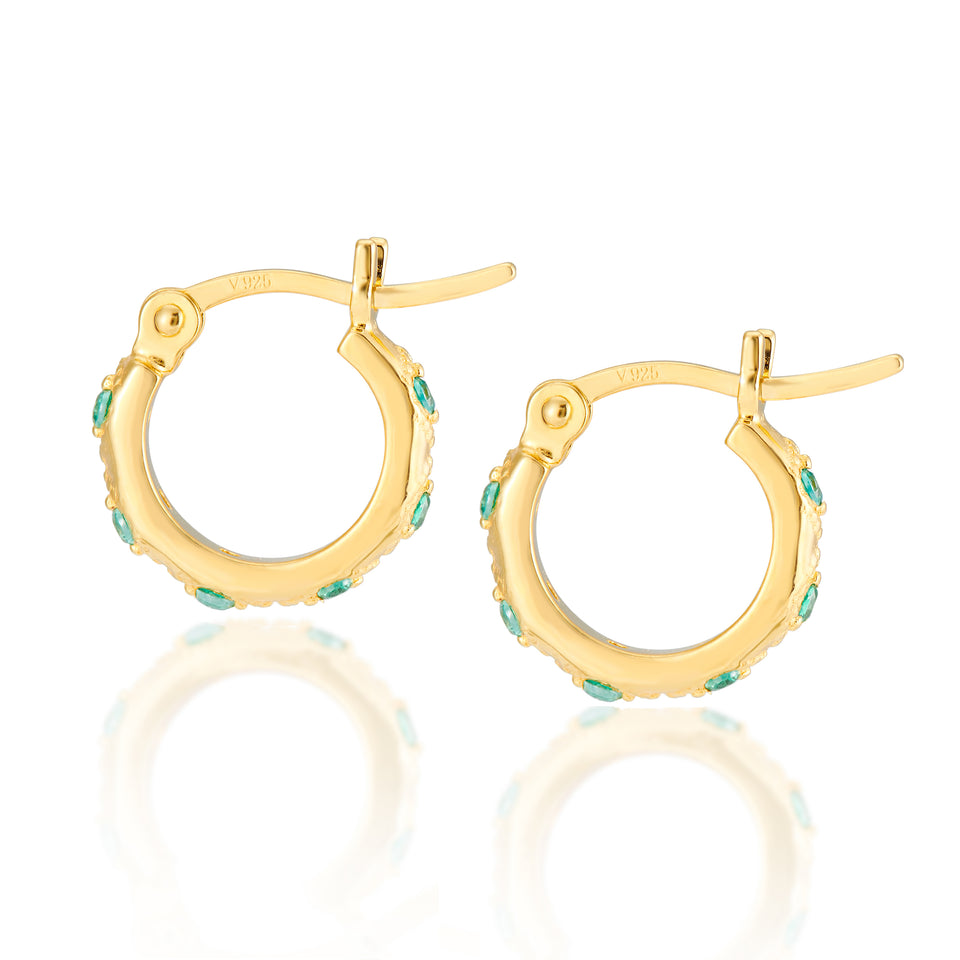 Lena Gold Hoops in Mint Green