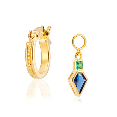 Combo: Frances Gold Hoops + Shield Charms in Blue & Green