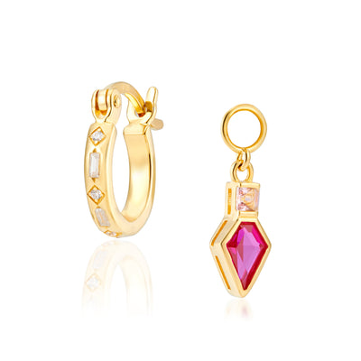 Combo: Iris Gold Hoops + Shield Charms in Corundum Red & Apricot