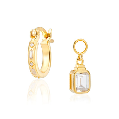 Combo: Iris Gold Hoops + Emerald Cut Charms
