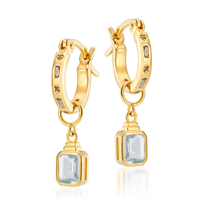 Combo: Iris Hoops + Emerald Cut Charms in Tanzenite & Spinel Blue