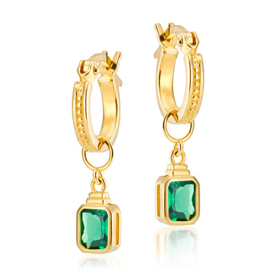 Frances Gold Hoops + Emerald Cut Charms