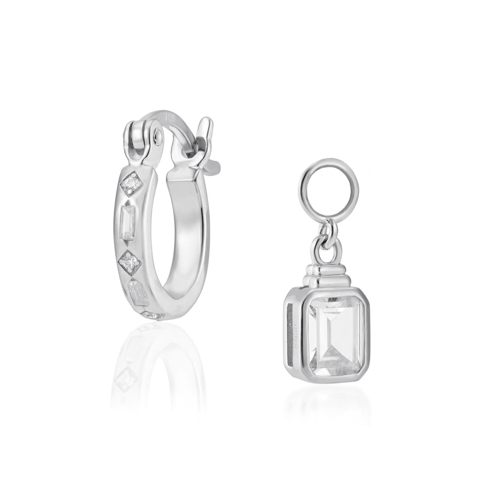 Combo: Iris Silver Hoops + Emerald Cut Charms