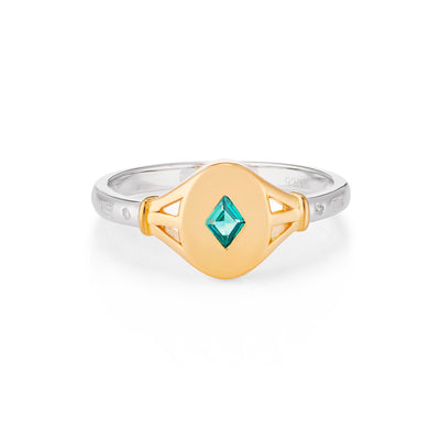 Tilly Gold Signet Ring in Mint