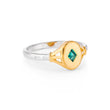 Tilly Gold Signet Ring in Mint Green