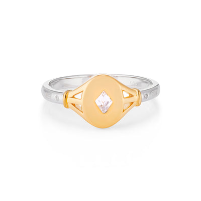 Tilly Gold Signet Ring in Clear Stone