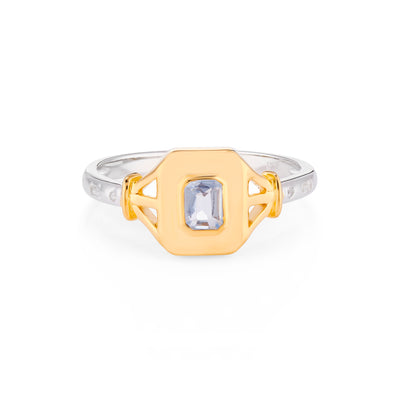 Jean Gold Signet Ring in Spinel Blue