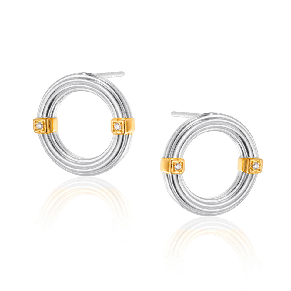 Brooke Forward Hoop Earrings in Two Tone
