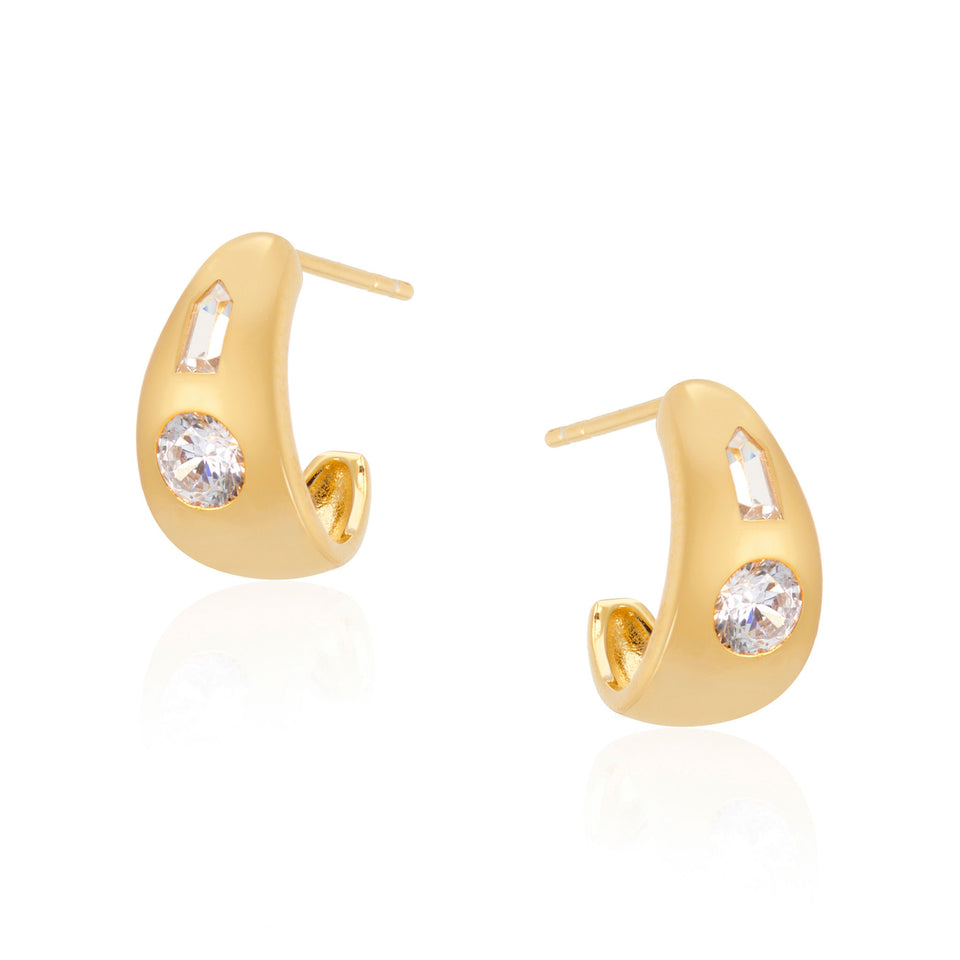 Tina Small Chubby Hoop Earrings in Gold