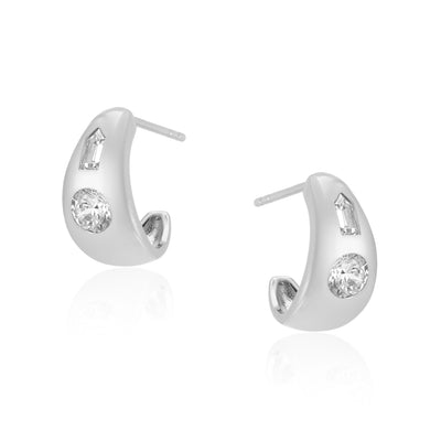 Tina Small Chubby Hoops in Silver