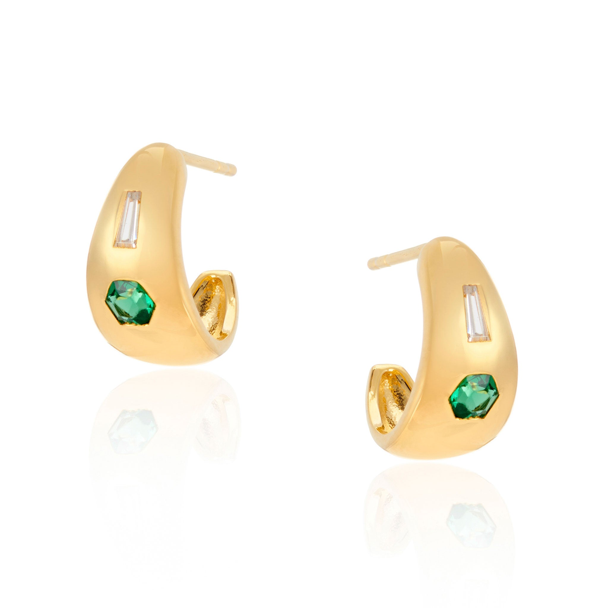 Jada Small Chubby Green Stone Hoop Earrings