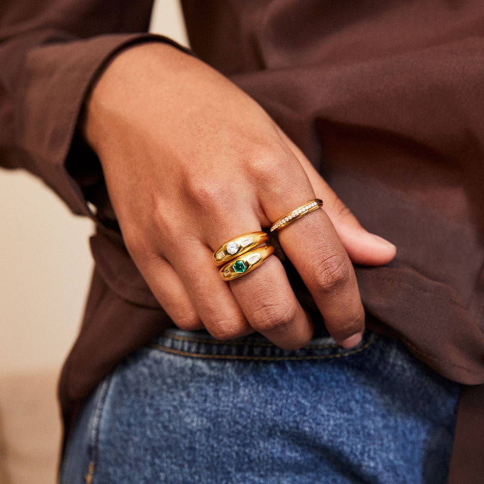 Tina Clear Stone Ring in Gold