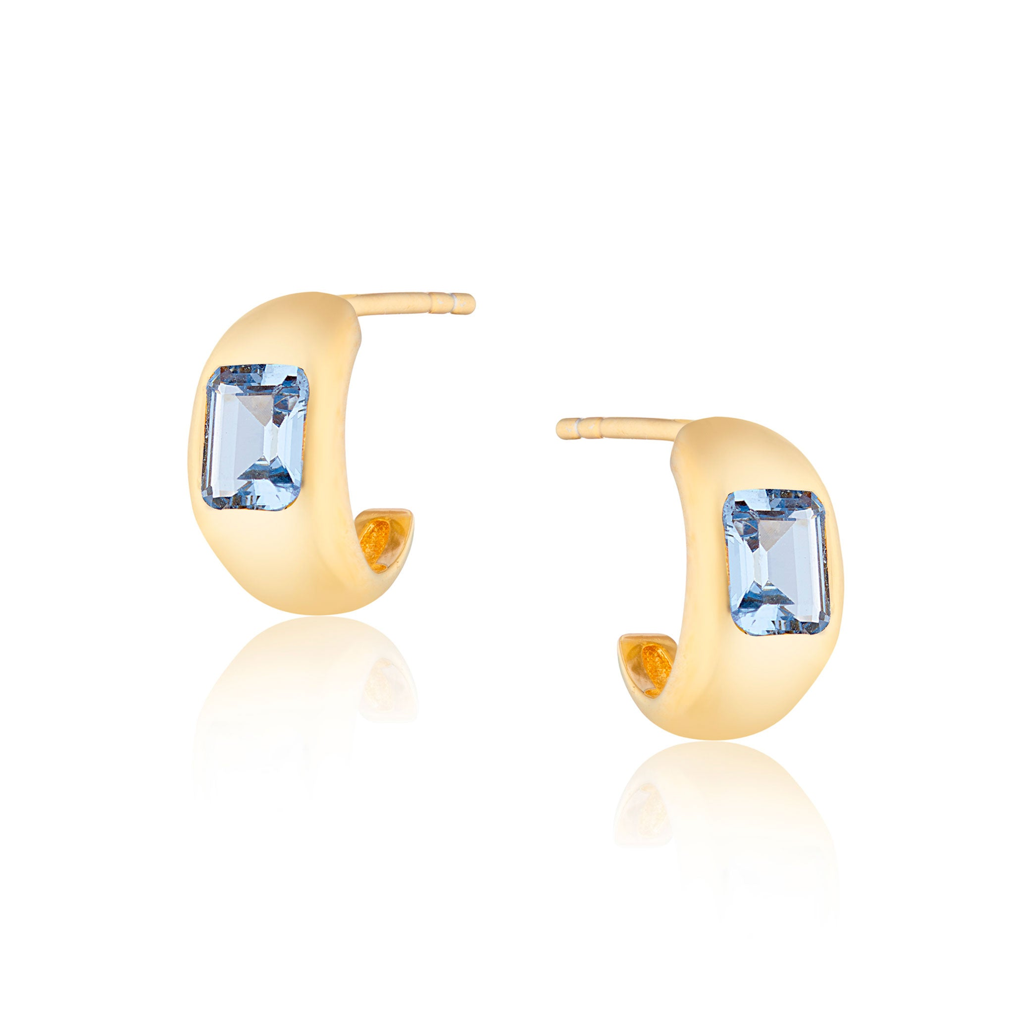 Diana Mini Chubby Spinel Blue Stone Hoop Earrings in Gold