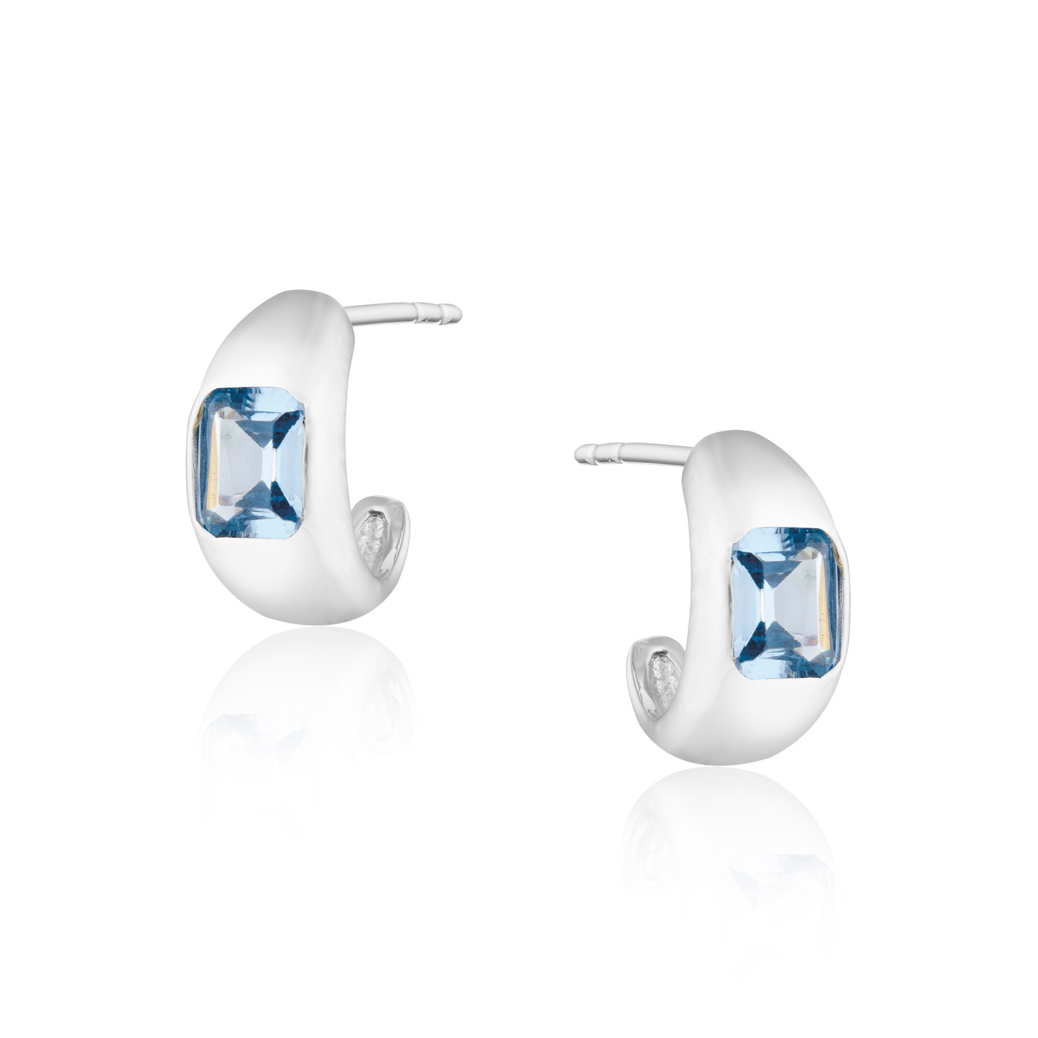 Diana Mini Chubby Spinel Blue Stone Hoop Earrings in Silver