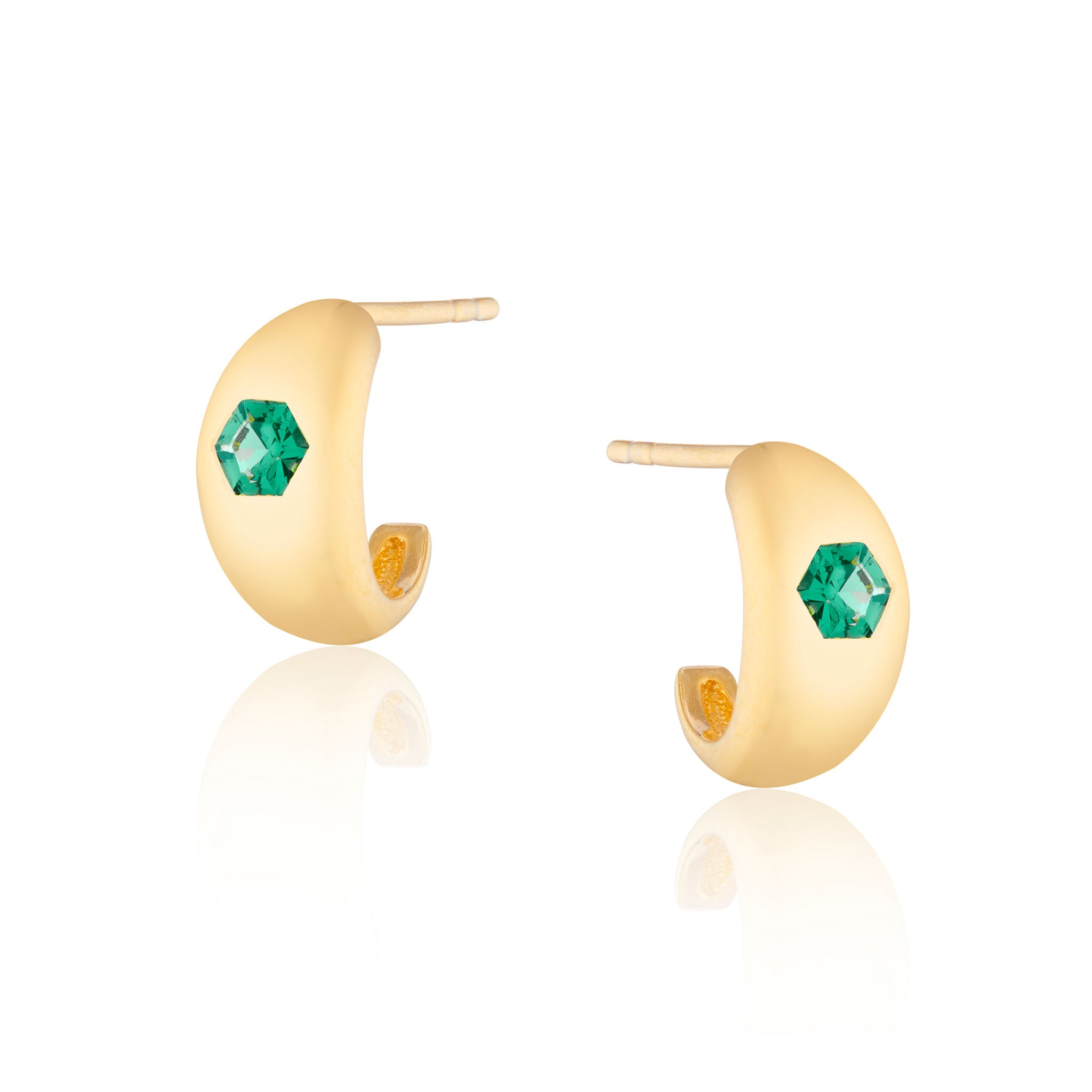 Jada Mini Chubby Green Stone Hoop Earrings