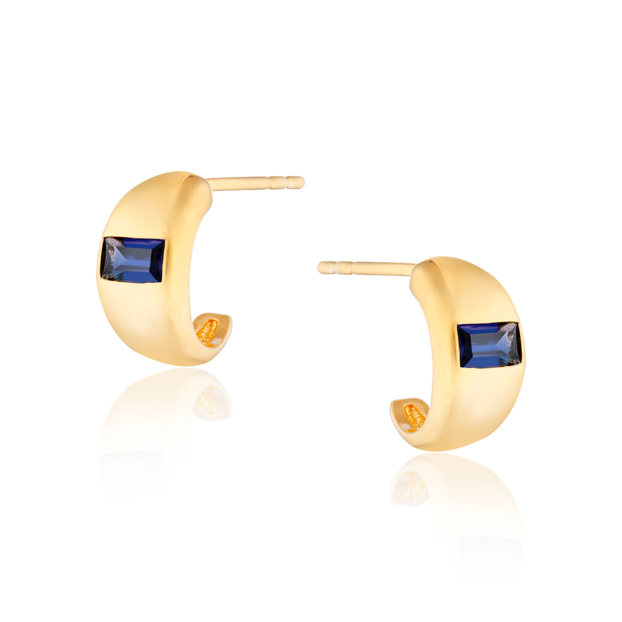 Erika Mini Chubby Blue Stone Hoop Earrings