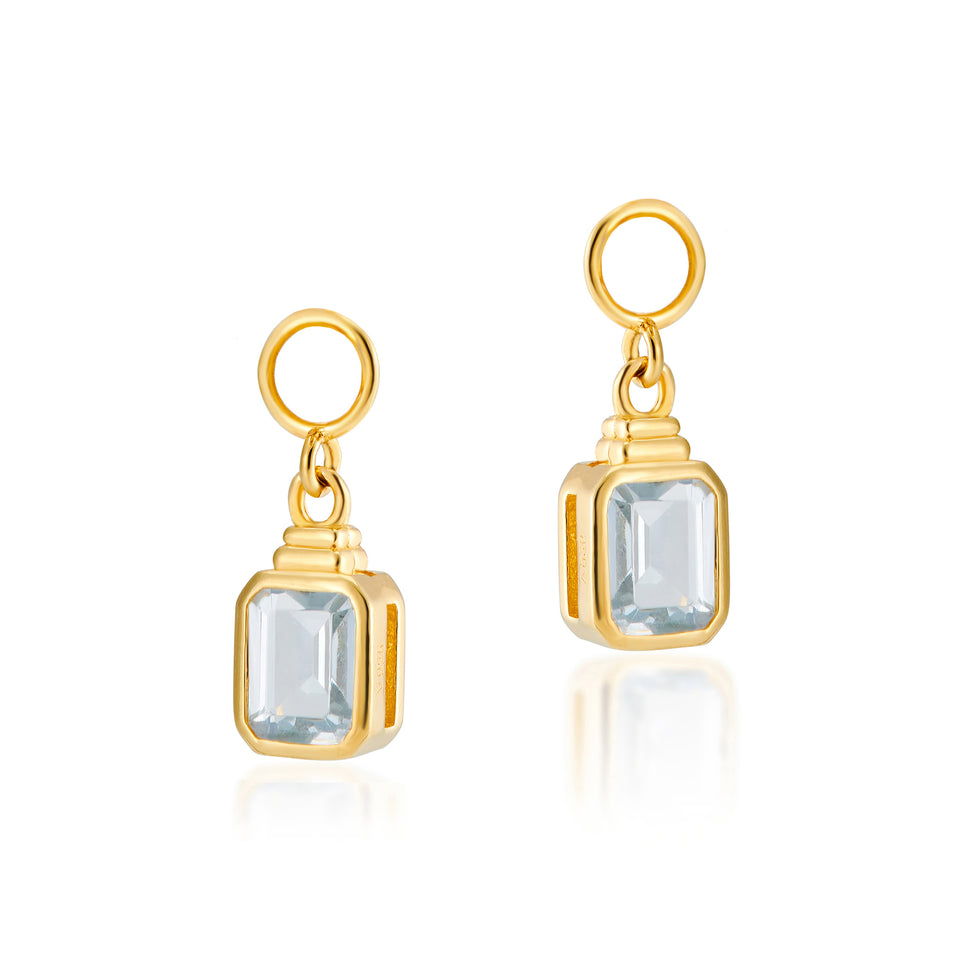 Emerald Cut Charms in Spinel Blue