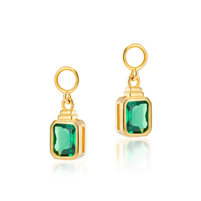Emerald Cut Charms in Emerald Green