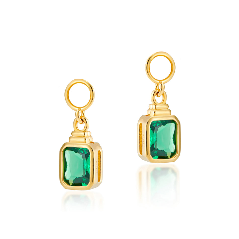 Combo: Frances Gold Hoops + Emerald Cut Charms in Emerald Green