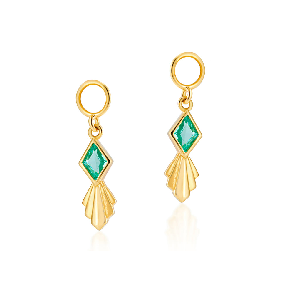 Combo: Iris Gold Hoops + Rhombus Charms in Mint