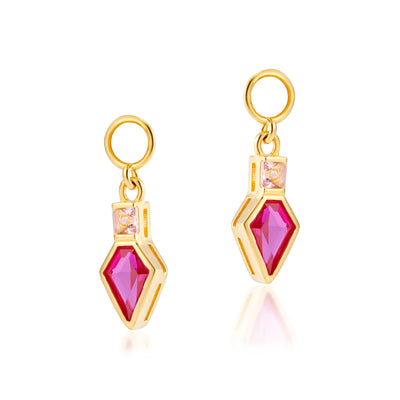 Shield Charms in Corundum Red & Apricot