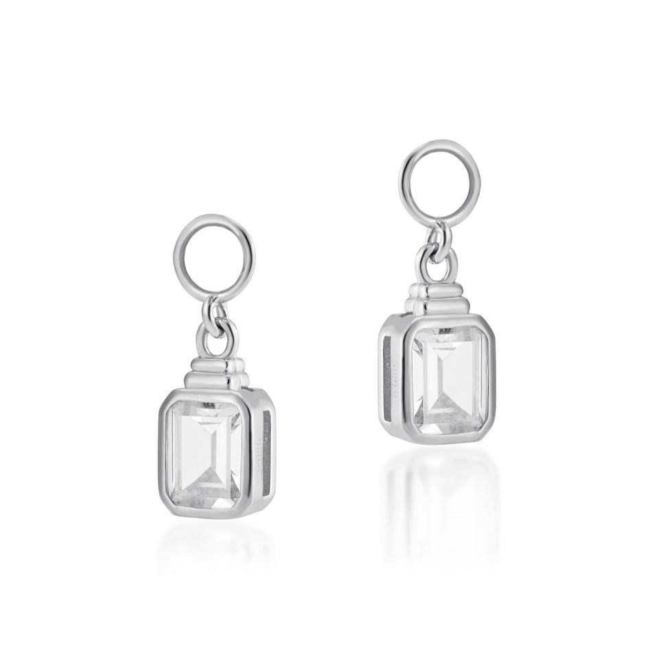 Emerald Cut Charms in Silver