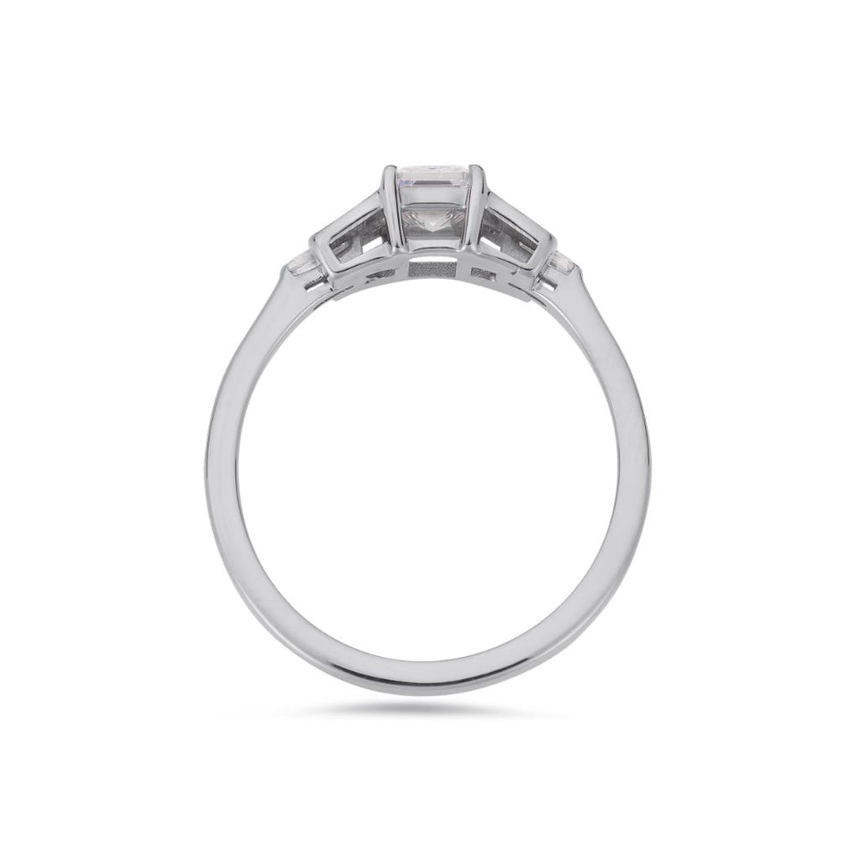 PACK: Platinum/White Gold Emerald Cut Buckle Ring