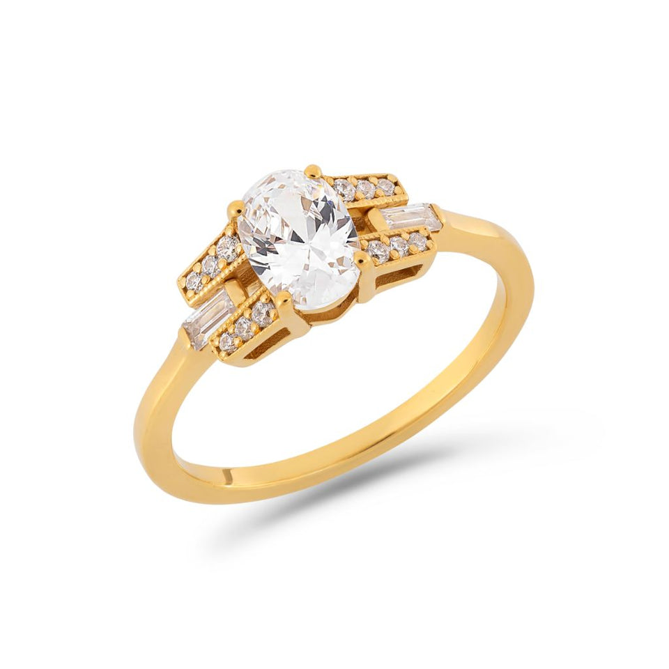 Oval cut diamond buckle ring in yellow gold