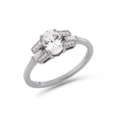 Oval cut diamond buckle ring in platinum